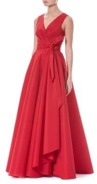 Carolina Herrera Silk Faille V-Neck Gown