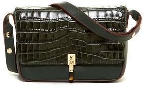 Elizabeth and James Cynnie Croc Embossed Leather Shoulder Bag