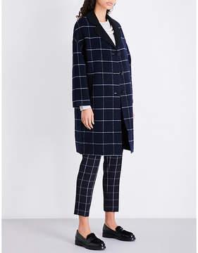 Claudie Pierlot Ladies Marine Checked Wool-Blend Coat