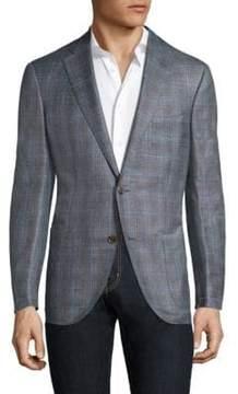 Luciano Barbera Window Pane Wool Blend Sportcoat