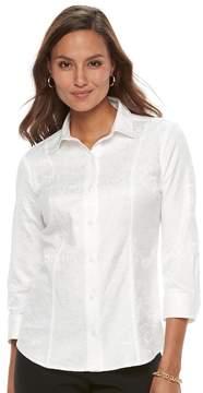 Dana Buchman Women's 3/4 Sleeve Button-up Top