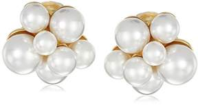 Pearl Polished Gold Cluster Clip-On Earrings
