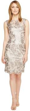 Adrianna Papell Floral Sequin Embroidered Sheath Dress Women's Dress