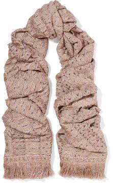 Missoni Fringed Metallic Crochet-knit Scarf - Blush