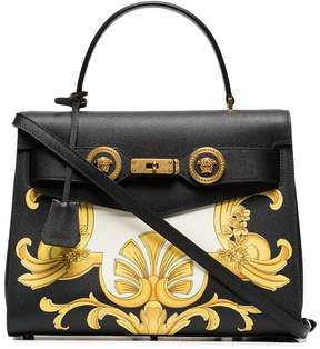 Versace black, white and yellow barocco print icon leather bag