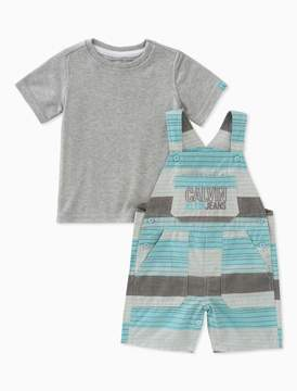 Calvin Klein boys 2-piece t-shirt + striped logo overalls set