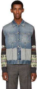 Maison Margiela Indigo Knit Combo Denim Jacket