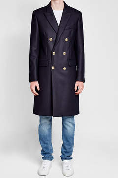 Palm Angels Embroidered Coat with Wool and Cashmere