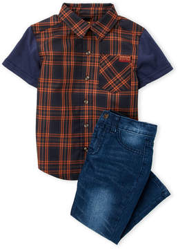 7 For All Mankind Toddler Boys) Two-Piece Plaid Shirt & Jeans Set