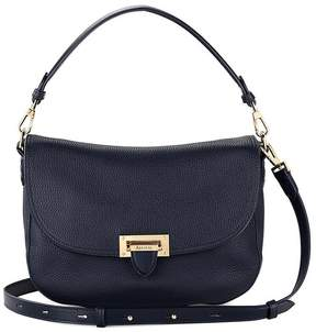 Aspinal of London | Slouchy Saddle Bag In Navy Pebble | Navy pebble