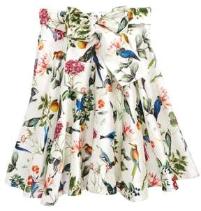 Oscar de la Renta Girl's Mikado Botanical Birds Skirt