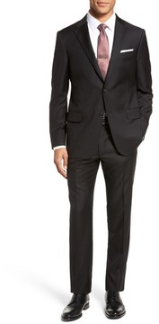 Hickey Freeman Men's Modern H Fit Solid Loro Piana Wool Suit