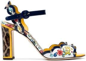 Dolce & Gabbana Leopard Keira Majolica 95 Leather Sandals