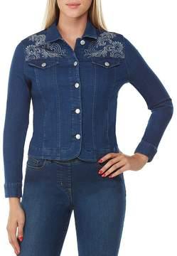 Allison Daley Embellished Button Front Embroidered Denim Jacket
