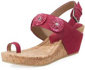 Donald J Pliner Gilly Floral Cork-Wedge Sparkle Suede Sandal