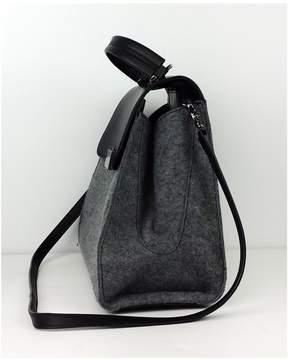 Zac Posen Black & Grey Wool Leather Satchel