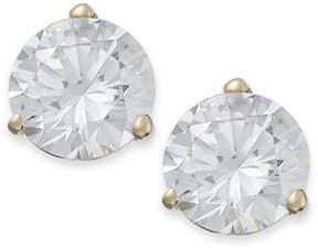 Arabella 14k Gold Earrings, Swarovski Zirconia Stud Earrings (7mm)