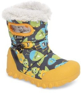 Bogs Boy's B-Moc Monsters Waterproof Insulated Faux Fur Winter Boot