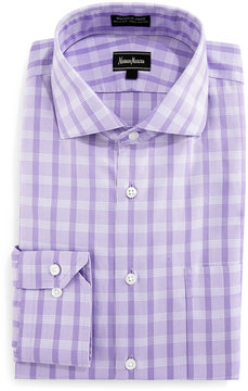 Neiman Marcus Classic-Fit Wrinkle-Free Oxford Check Dress Shirt, Purple