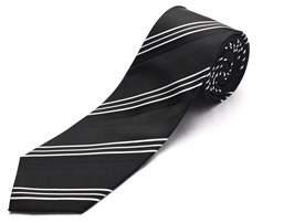 Luciano Barbera Men Slim Silk Neck Tie Black White.