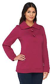 Denim & Co. Long Sleeve Sweatshirt w/ ShawlCollar &Toggles