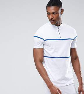 Asos TALL T-Shirt With Zip Neck And Piping In Heavy Jersey