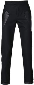 Les Hommes contrast-panel fitted trousers