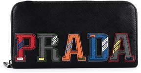 Prada Zip Around Wallet In Saffiano Leather