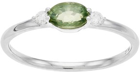 Lauren Conrad 10k White Gold Green Sapphire & Diamond Accent Oval Ring