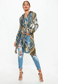 Missguided Cream Long Line Scarf Print Tie Front Shirt