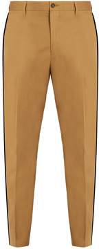 Dolce & Gabbana Side-striped tapered-leg stretch-cotton trousers