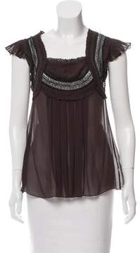 Temperley London Lace Trimmed Silk Blouse