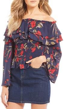 Chelsea & Violet C&V Coordinating Floral Print Off-the-Shoulder Blouse