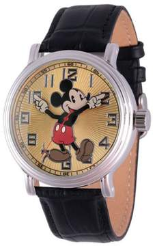Disney Classic Mickey Mouse Moving Hands Black Croco Leather Strap Watch