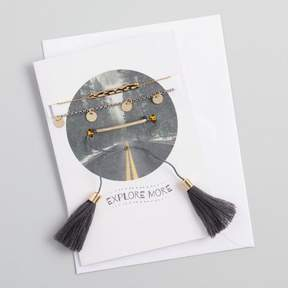 World Market Chain and Tassel Bracelets Gift Set with Greeting Card