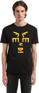 Fendi Face Felt Patches Jersey T-Shirt