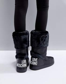 Love Moschino Faux Fur Logo Snow Boots