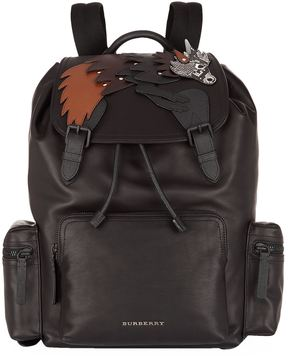 Burberry Beast Appliqué Leather Backpack