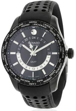Movado Series 800 Black PVD Leather Men's Watch, 2600117