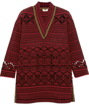 Fendi Laser-cut Wool-blend Sweater - Red