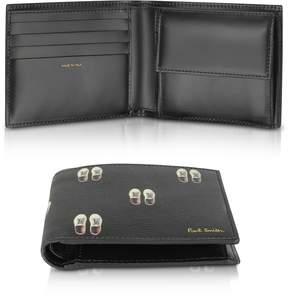 Paul Smith Black Leather Basso Print Men's Billfold Wallet
