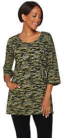 Denim & Co. Active Camo Printed Scoop Neck 3/4Sleeve Tunic
