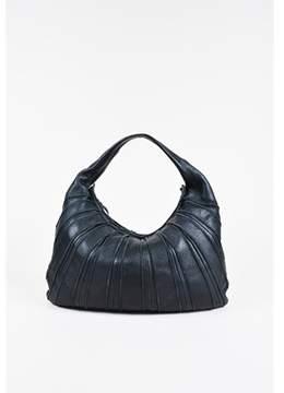 Bottega Veneta Pre-owned Black Pebbled Leather Paneled Single Handle Hobo Bag.
