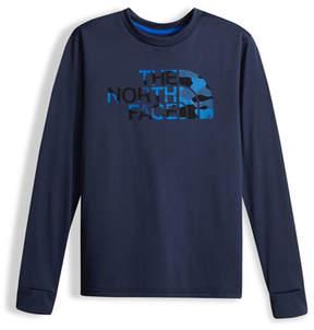 The North Face Boys' Long-Sleeve Camo Logo Reaxion Tee, Blue, Size XXS-XL