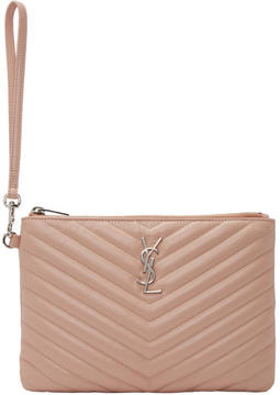 Saint Laurent Pink Quilted Monogram Pouch - PINK - STYLE