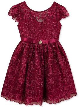 Rare Editions Floral-Embellished Mesh Dress, Little Girls (4-6X)