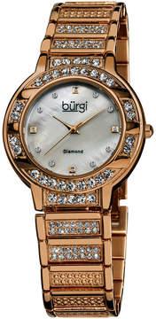 Burgi Womens Rose Goldtone Strap Watch-B-067rg