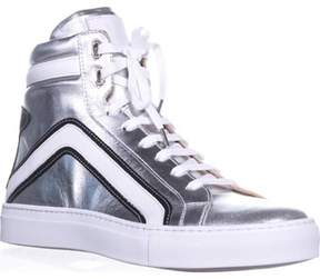 Belstaff Dillon High Top Fashion Sneakers, Silver.