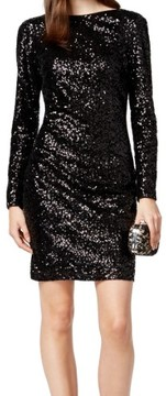 Vince Camuto Women's Sequined Cowl Back Dress (4, Black)