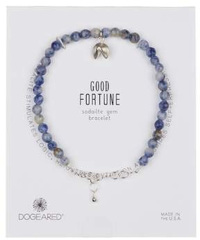 Dogeared Sterling Silver Sodalite Bead & Fortune Cookie Charm Bracelet